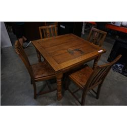 ANTIQUE DRAWLEAF DINING TABLE WITH 4 CHAIRS