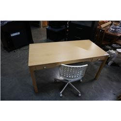 MAPLE DESK AND WHITE ROLLING OFFICE CHAIR