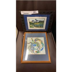 SMALL WATER COLOUR SIGNED SELLER AND ENAMELED PHEONIX