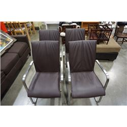 SET OF 4 METAL FRAMED LEATHER CHAIRS - BY SCAN DESIGN