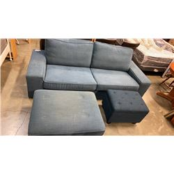 BLUE UPHOLSTERED URBAN BARN PILLOWBACK SOFA WITH 2 STORAGE OTTOMANS