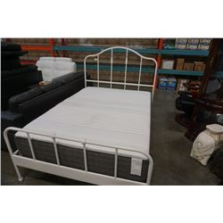 WHITE METAL DOUBLE SIZE BED FRAME WITH MATTRESS