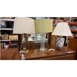 3 TABLE LAMPS, 2 MODERN 1 EASTERN