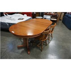 ROUND MAPLE DINING TABLE WITH 2 LEAFS 4 CHAIRS