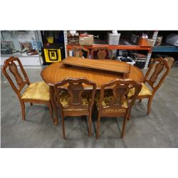 FRENCH PROVINCIAL DINING TABLE WITH LEAF AND 6 CHAIRS