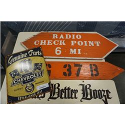 METAL CHEVROLET PARTS SIGN AND WOOD MAN CAVE SIGNS