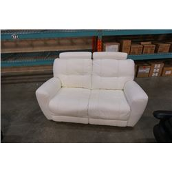 WHITE LEATHER DOUBLE RECLINER LOVESEAT - SANDYS FURNITURE