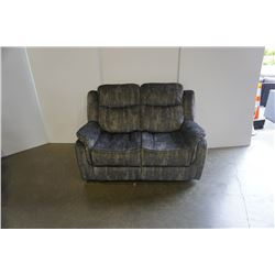 BRAND NEW GREY VELVET DOUBLE RECLINING LOVE SEAT - RETAIL $599