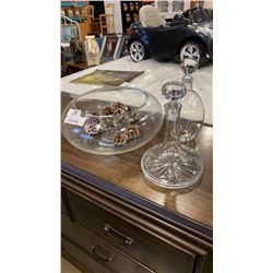 LARGE GLASS BOWL AND 2 DECANTERS