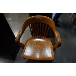 OAK ROLLING OFFICE CHAIR
