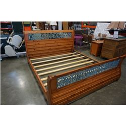 KINGSIZE PINE WROUGHT IRON SLEIGH BED FRAME WITH INSERT