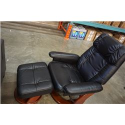 BLACK LEATHER RECLINING ARMCHAIR WITH OTTOMAN