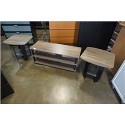 3 PIECE GRAY T VSTAND AND ENDTABLE SET