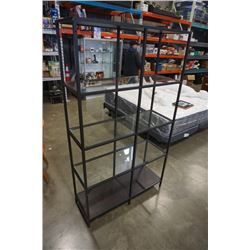 METAL AND GLASS SHELF - APPROX 69 INCHES TALL