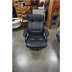 Black leather reclining office chair
