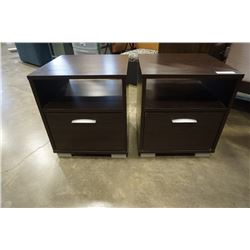 Pair of modern one drawer night stands