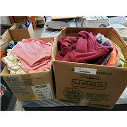 Two boxes of new fleece vests and shirts and high vis gear