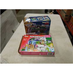 BOX OF LEGO JUNIORS AND REVELL GRAVE DIGGER