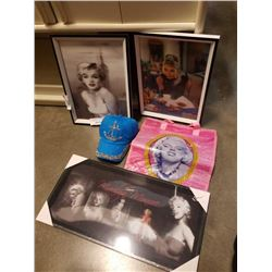 MARILYN MONROE HOLOGRAPHIC PRINTS, BAG AND BLUE SEQUIN HAT