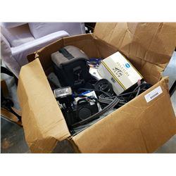 Large box of vintage camera gear and electronics