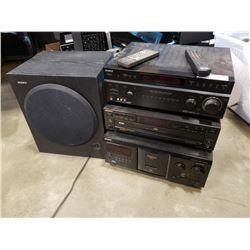 Three Sony stereo components with Sony sub