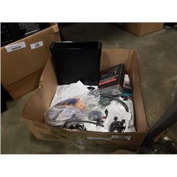 Box of xbox 360 console cords and electric cords