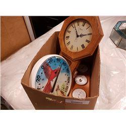 Quartz wall clock, thermometer and barometer