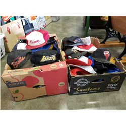 2 large boxes of vintage hat collection, coke, chicago bulls, la lakers and others