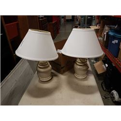 Two modern table lamps with box of LED bulbs