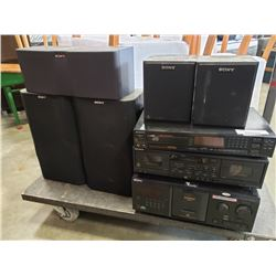3 sony stereo components and 5 speaker set