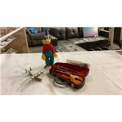 MINIATURE VOILIN IN CASE, MINI PEWTER CLIPPER AIRPLANE, AND VINTAGE GOOFY FIGURE