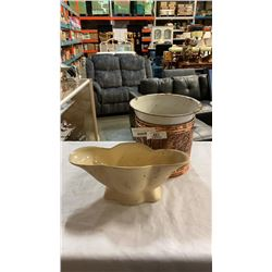 ENGLISH DISH, COPPER PAILS AND ENAMELED BOWL