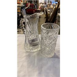 CRYSTAL PITCHER AND VASE