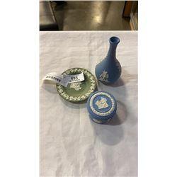 3 PIECES OF ENGLISH WEDGEWOOD - LIDDED JAR, VASE AND GREEN DISH