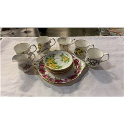 VARIOUS CHINA CUPS AND SAUCERS AND CREAM - ROYAL ALBERT