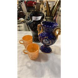 ART GLASS VASE, CARNIVAL GLASS CUPS AND ITALIAN VASE