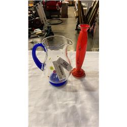 ART GLASS PITCHER AND HAND PAINTED VASE