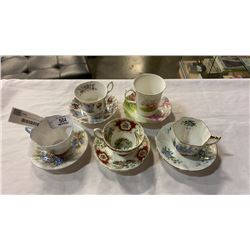 5 CHINA CUPS AND SAUCERS - 4 ROYAL ALBERT AND 1 FOLEY