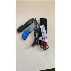 3 new throwing knives,mtech folding knife with buker and columbia folding knives