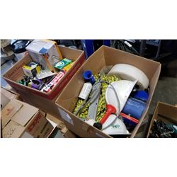2 boxes of rope, hard hats and light bulbs