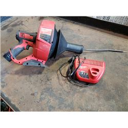 Milwaukee cordless drain snake with batteries and charger tested and working