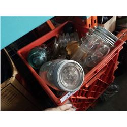 CRATE OF GLASS INSULATORS AND MASON JARS WITH GLASS LIDS