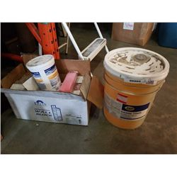 LARGE PAIL ZEP HANG TIME BUG REMOVER AND BOX OF EASY PAKS CLEANER AND DEODORIZING WALL BLOCKS