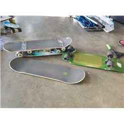 3 skateboards and skateboard deck