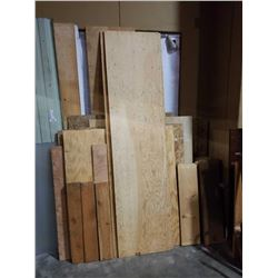 LOT OF PLYWOOD AND LUMBER OFFCUT VARIOUS THICKNESSES AND LENGTH
