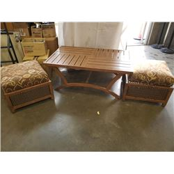 35 X 51 INCH 3 PIECE METAL AND RATTAN DESIGNER COFFEE TABLE W/ PADDED SEATS