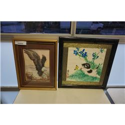 VINTAGE CHINESE WATER COLOUR AND 3D EAGLE ART