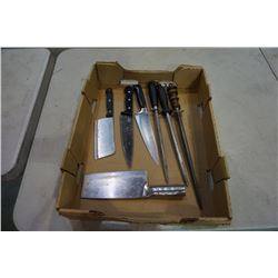 BOX OF KNIFE SHARPENERS AND KNIVES - SOME HENCKEL
