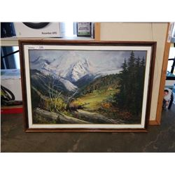 PAINTING ON CANVAS APPROACHING WINTER - SIGNED LORA ARMBRUSTER