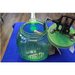 Green Depression - Vaseline Glass Butter Churn